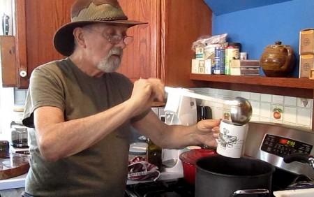 Paul serving chicory coffee