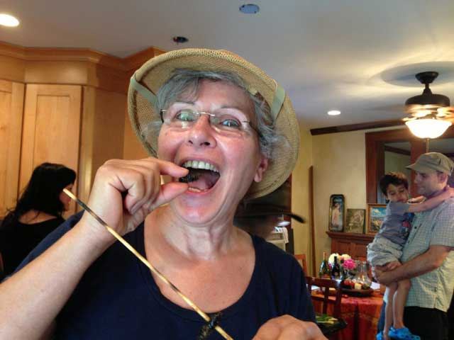 Here is Susan, about to eat her first cicada - the first of many